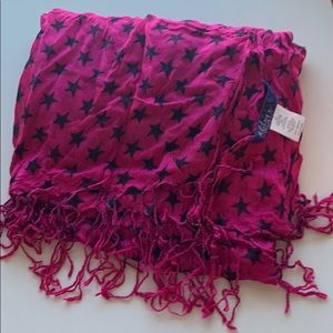 Miley Cyrus Max Azria Pink Scarf with Black Stars